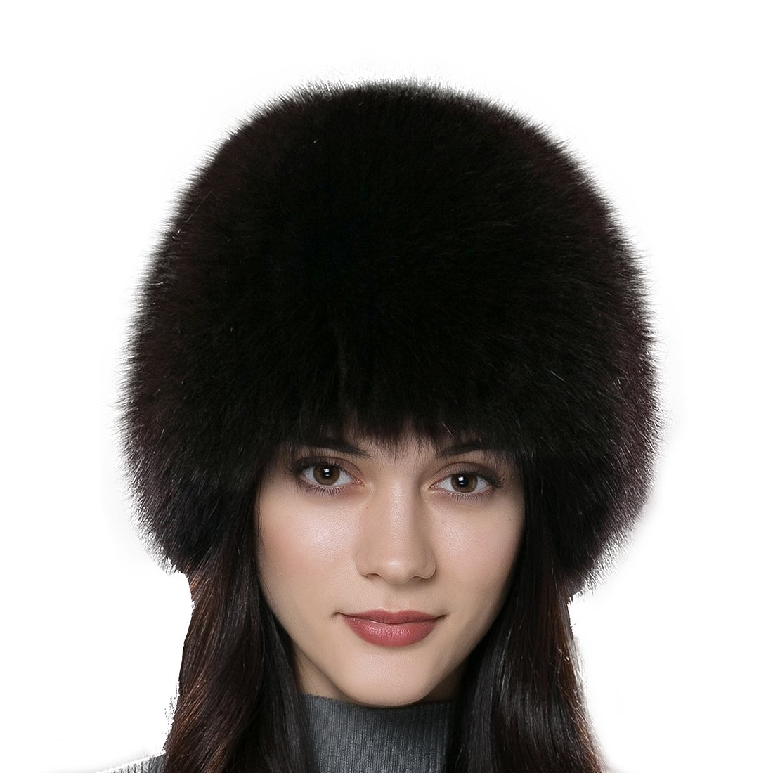 URSFUR Winter Knit Fur Wig Women's Real Fox Fur Hat Caps Multicolor