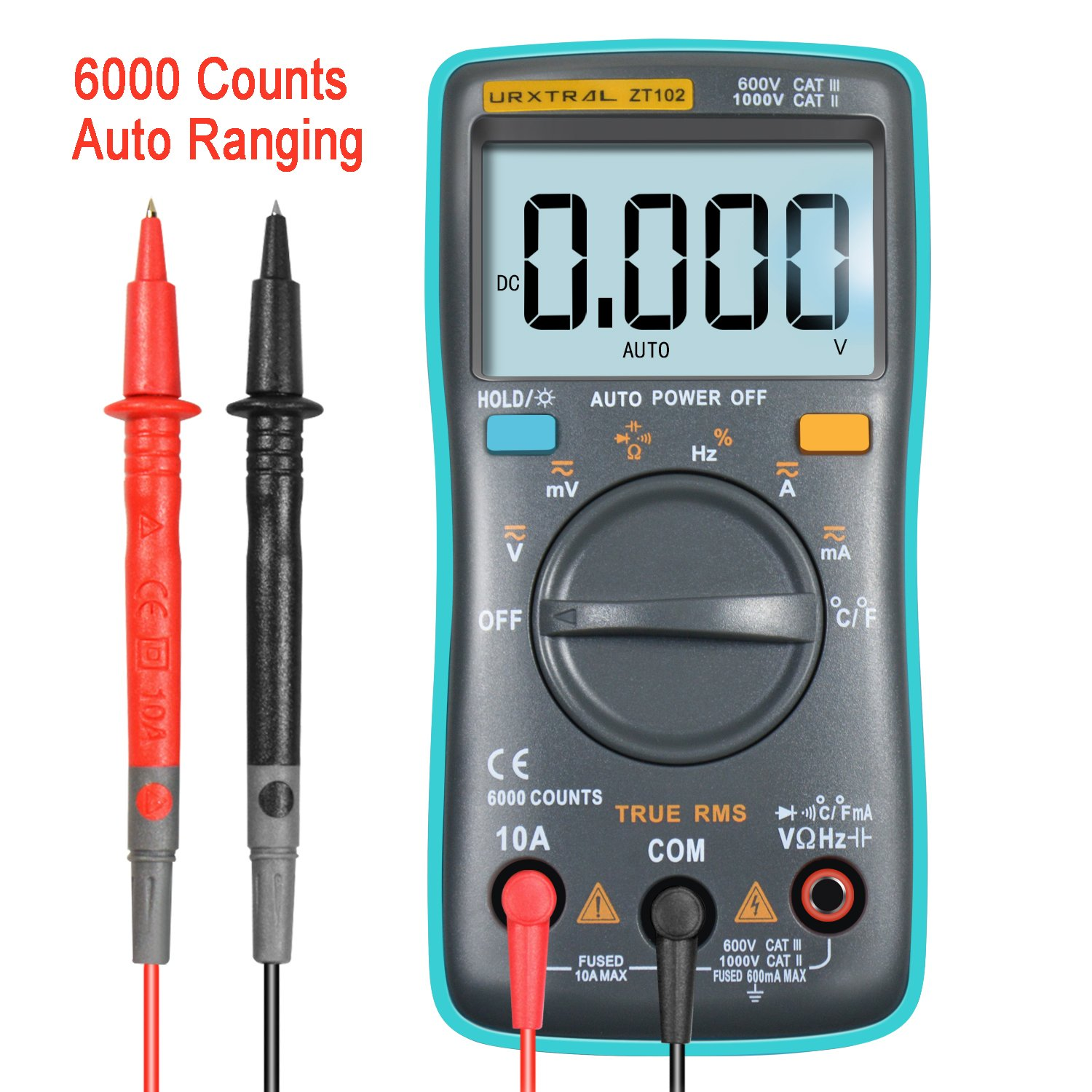 URXTRAL 6000 Counts Auto Ranging Digital Multimeter TRMS Multi Tester with Backlight Measure Temperature AC/DC/OHM/Hz/Temp/Duty Cycle/Continuity Tester ZT102