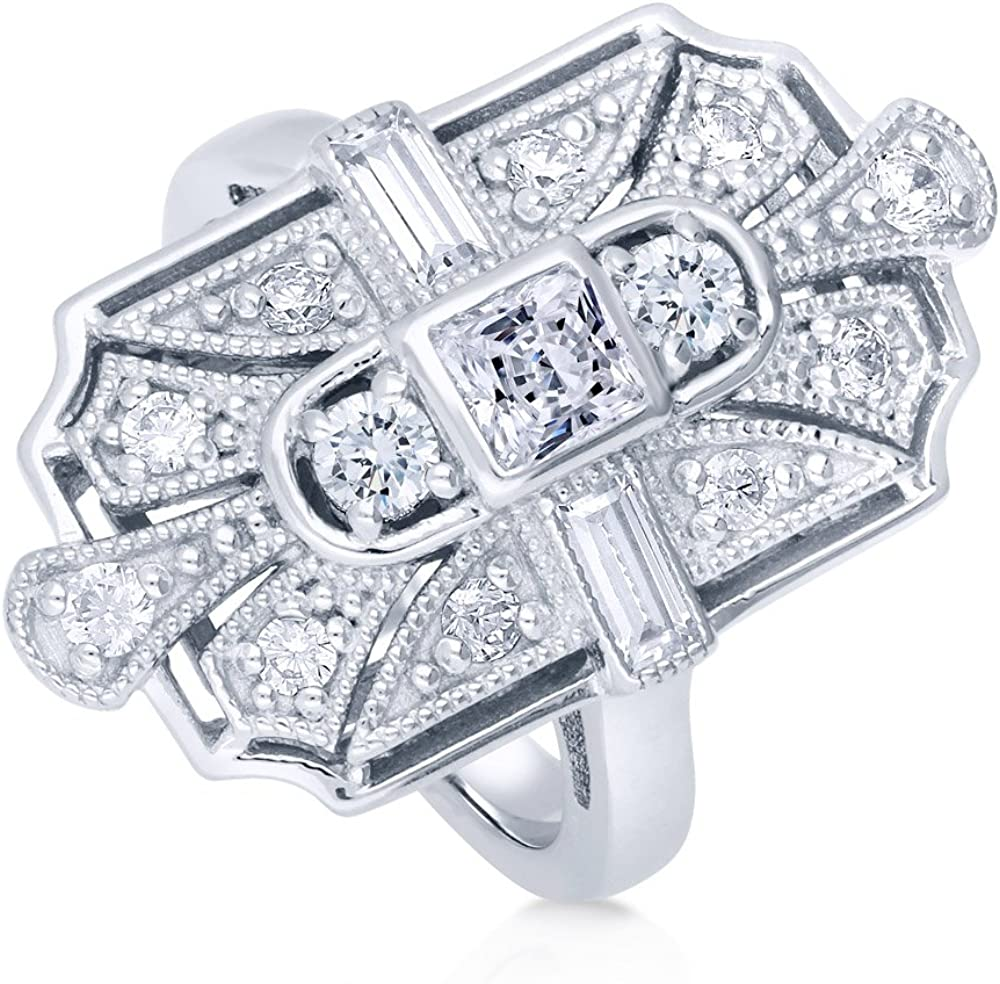 BERRICLE Sterling Silver CZ Art Deco Milgrain Cocktail Fashion Right Hand Ring