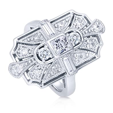 39f0b460c2ae6 BERRICLE Rhodium Plated Silver Princess Cut Cubic Zirconia CZ Art Deco  Cocktail Statement Ring