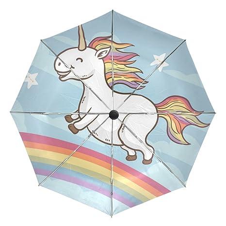 COOSUN Feliz unicornio en el arco iris automático 3 plegable del paraguas del parasol Color #