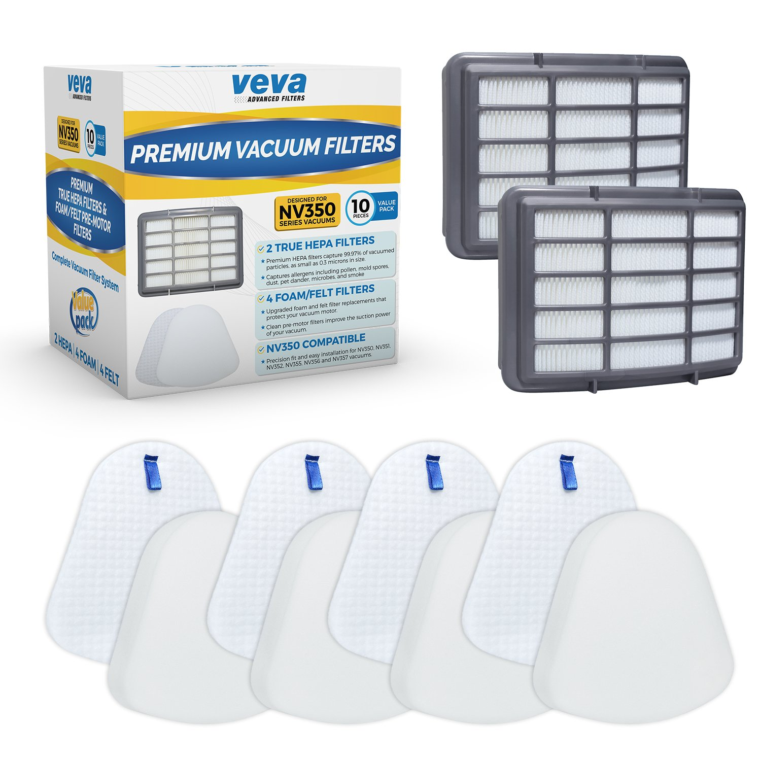 VEVA Complete Premium Vacuum Filter Set Including 2 HEPA, 4 Foam, 4 Felt Filters 10 Pieces Total for Shark Navigator Lift Away Model NV350, 351, 352, 355, 356, 357, 358, 360, 370, 391, UV440, 490, 540
