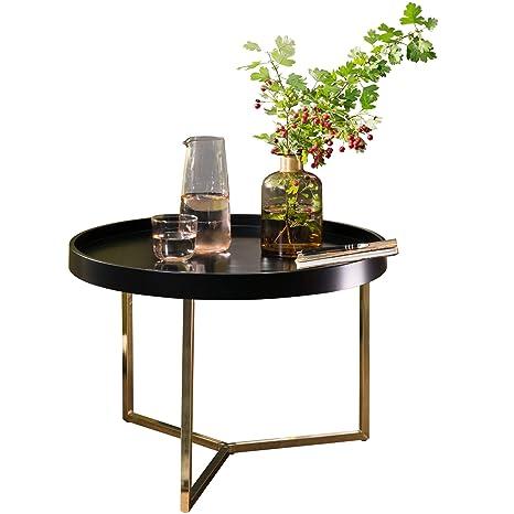 Finebuy Couchtisch Evi 58 5x42x58 5cm Schwarz Gold Sofatisch Metall Rund Designer Retro Wohnzimmertisch Modern Kleiner Loungetisch Mit