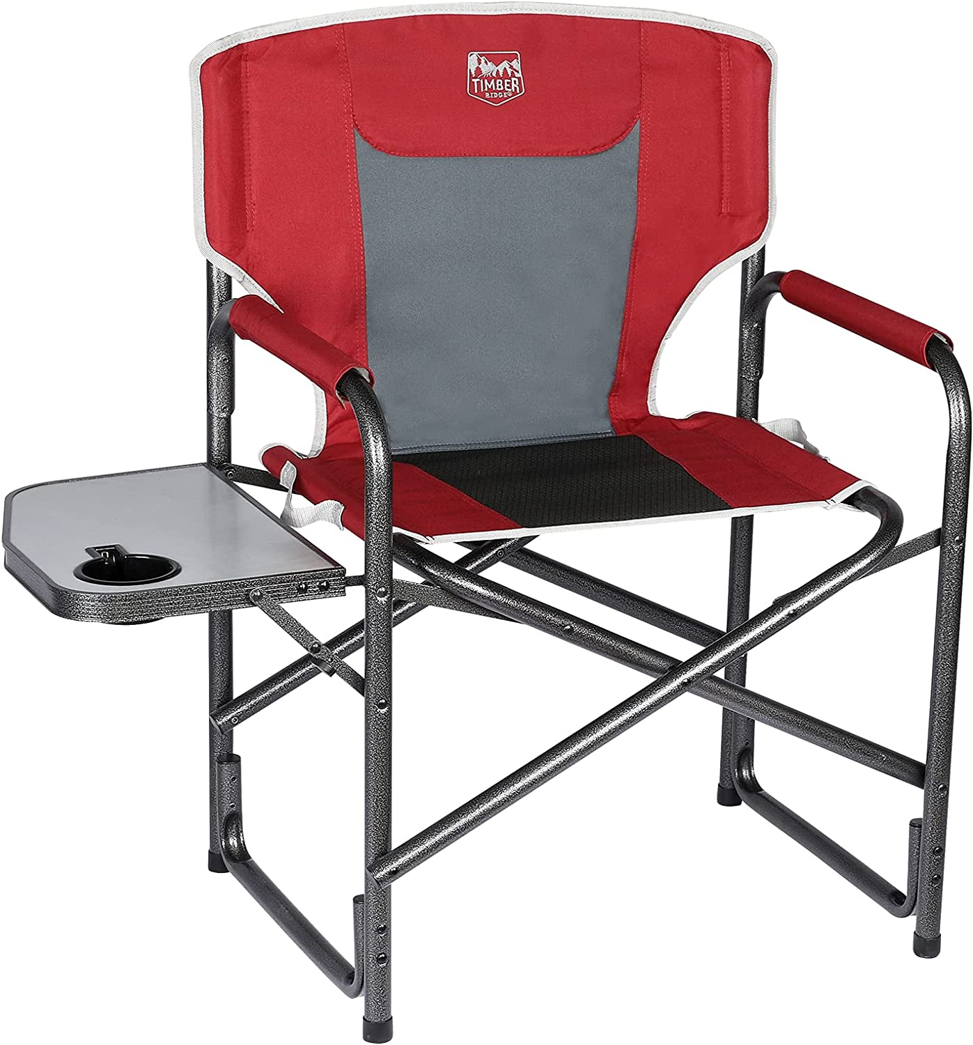 TIMBER RIDGE Portable Outdoor Camping Folding Director's Chair with Side Table Lightweight Aluminum Frame-Supports 300lbs(Red)