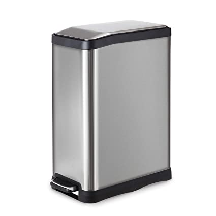 Home Zone Stainless Steel Kitchen Trash Can With Rectangular Design