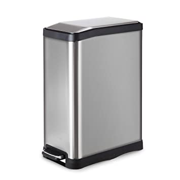 Homezone 45 Liter 12 Gallon Stainless Steel Rectangular Step Kitchen Trash Can Single Compartment