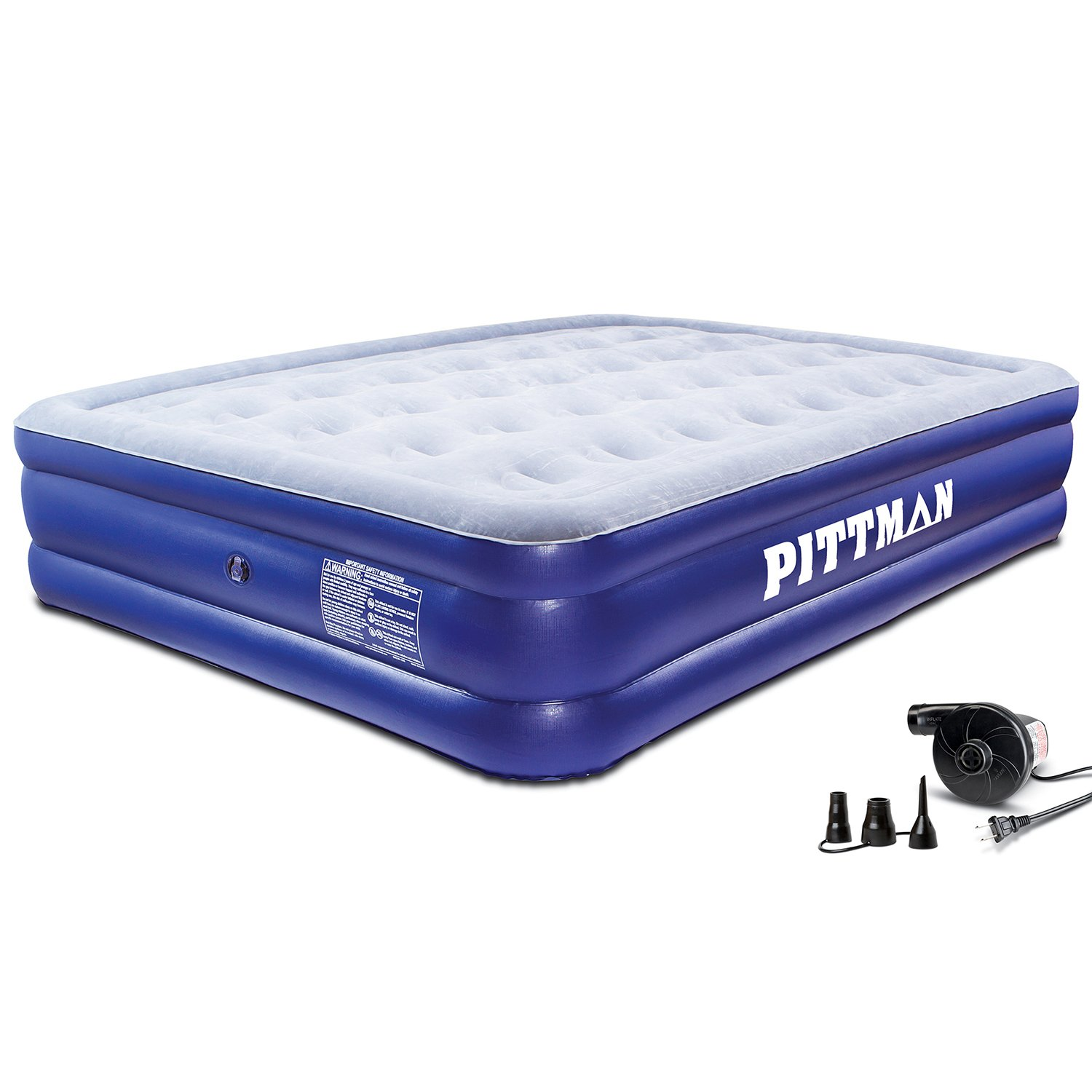 Pittman Queen Double High Air Mattress with Portable Electric Air Pump Pittman Outdoors PPI QDHPAC