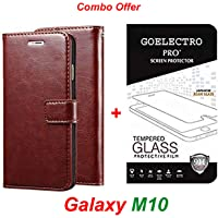 Goelectro Samsung Galaxy M10 / Galaxy M10 (Combo Offer) Leather Dairy Flip Case Stand with Magnetic Closure & Card Holder Cover + Tempered Glass Full Screen Protection (Brown-Transparent)