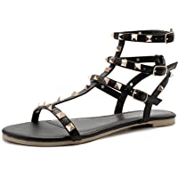 SANDALUP Rivets Studs Flat Sandals w Double Metal Buckle for Women's Summer Dress Shoes Black 09