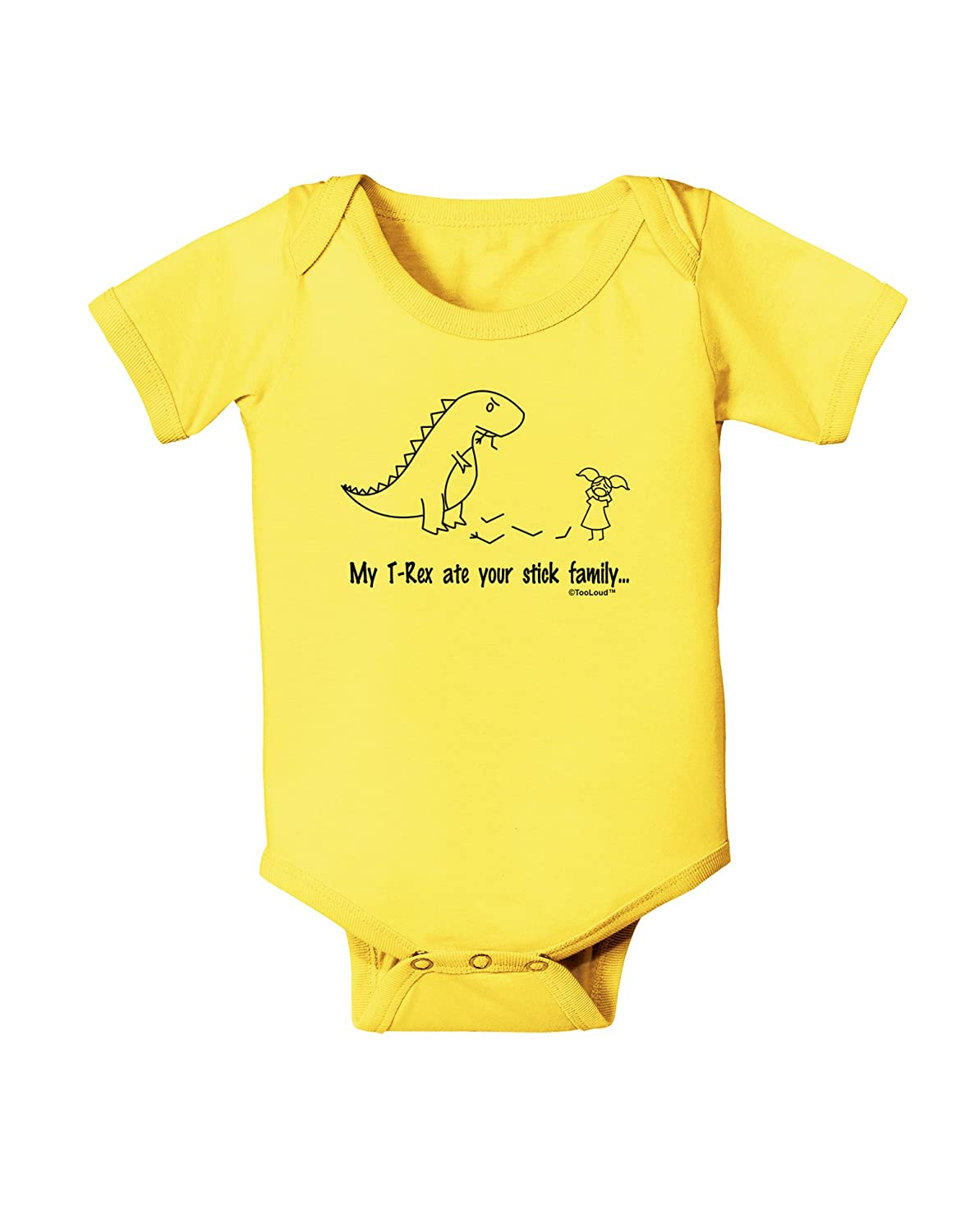 TooLoud My T-Rex Ate Your Stick Family Line Baby Romper Bodysuit