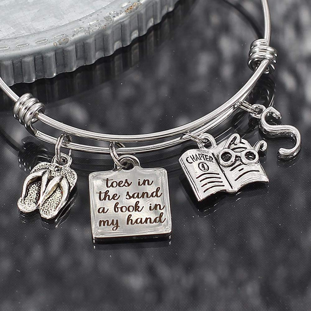 Book Beach Lover Expandable Stainless Steel Bangle Bracelet Toes in the Sand and Flip Flop Charms
