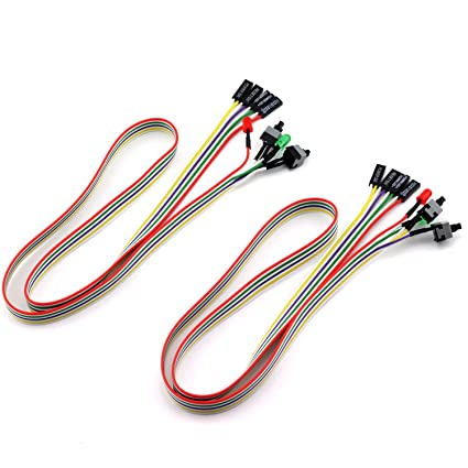 ToToT 2pcs PC Power Switch Cable with LED Light ATX Case Front Power Button  PC Power Cable SW Re-starting Switch Desktop Computer Power Supply Reset