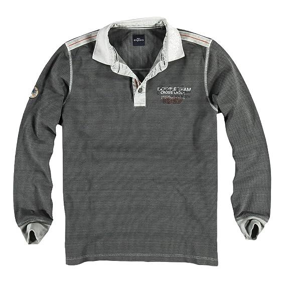 engbers Herren Poloshirt langarm, 23135, Grau in Größe S