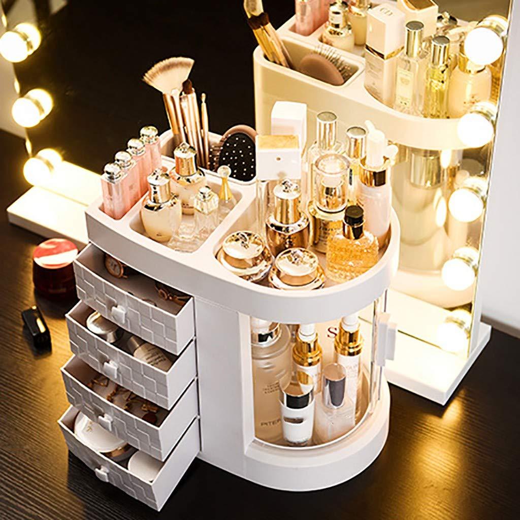 Fangoog Cosmetic Storage Box, Dustproof Transparent Multi-Function Rotating Drawer Desktop Organizer - Large Capacity Dressing Table Lipstick Skin Care Storage Shelf (White) by Fangoog