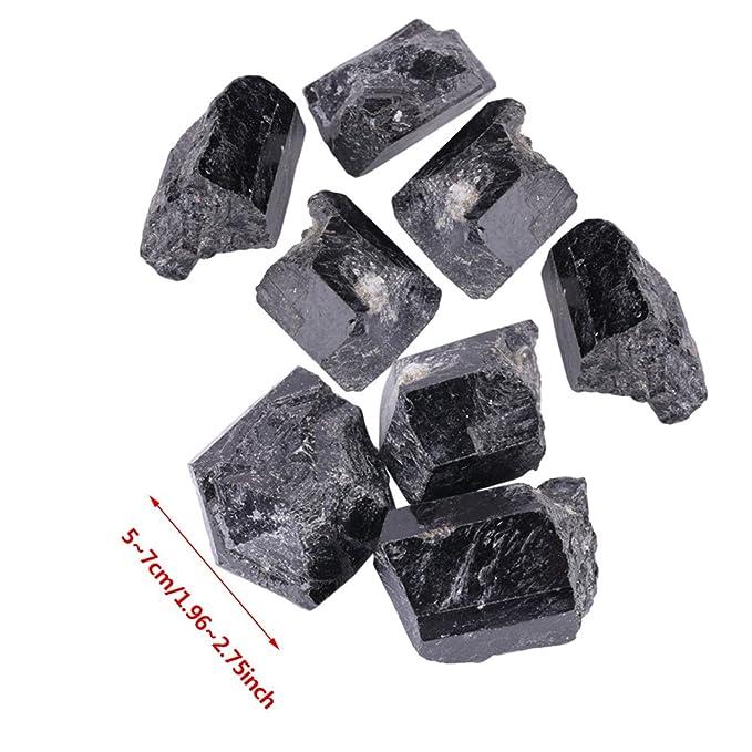 1Pcs Turmalina Natural,Turmalina Original,Cristal de Cuarzo Natural,Piedra Turmalina Negra,Material de Joya,Un Regalo Especial, Sobre 100g(5-7cm): ...