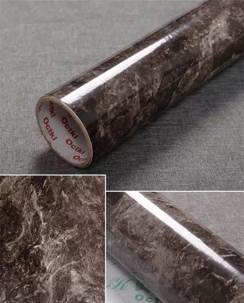 "Yancorp 17.9""x78.7"" Dark Brown Marble Contact Paper Removable Wallpaper Film Self-Adhesive Granite Sticker Kitchen Peel Stick Backsplash Marble Tile Countertop Shelf Liner (Big)"