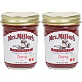 Mrs. Miller's Amish Homemade Cherry No Granulated Sugar Added Jam 9 Ounces - Pack of 2 (No Corn Sugar)