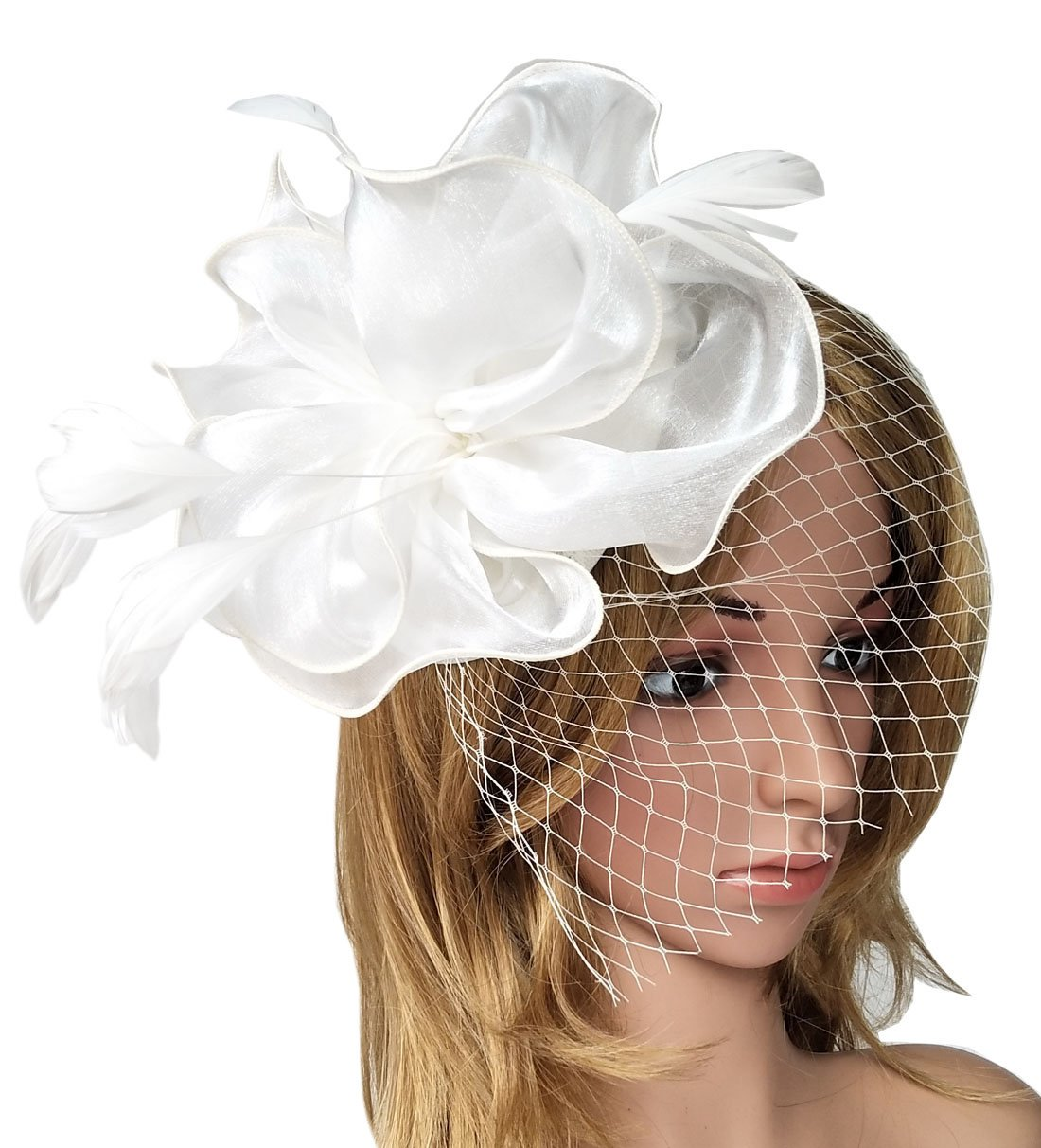 Biruil Fascinator Feather Organza Flower Cocktail Tea Party Hair Clip Derby Headband (Style 1 White)