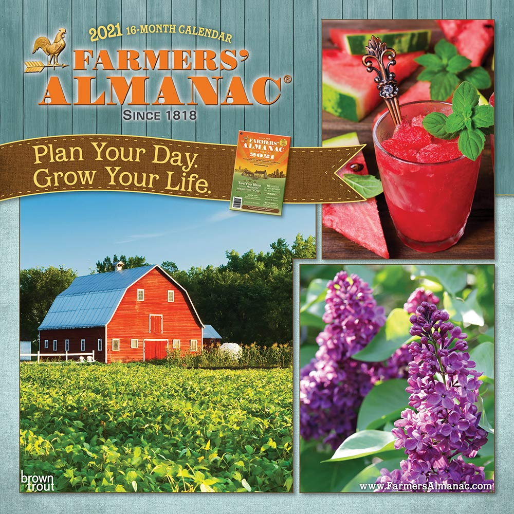 Farmers Almanac 2021 12 X Inch Monthly Square Wall Calendar Weather Farm Gardening Health Organic Browntrout Publishers Inc Editing Team Design
