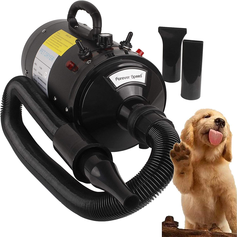 Forever Speed Secador de Pelo para Perros Gatos Mascotas Secador de Cabello Temperatura y Velocidad Ajustable (Estándar Europeo) (Negro, 2400W) (Negro-2400W): Amazon.es: Productos para mascotas