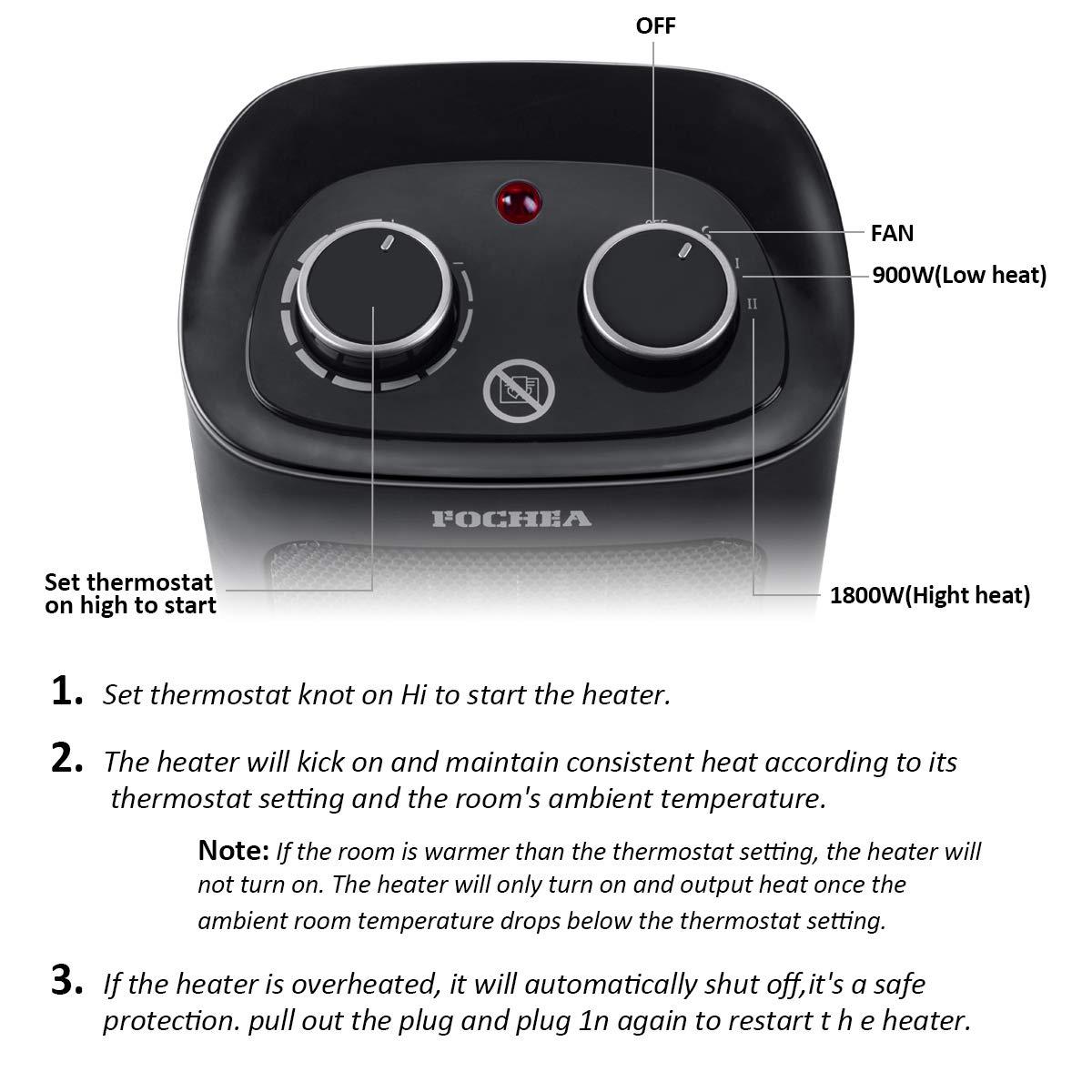 Sliencieux FOCHEA Radiateur Soufflant C/éramique 1800W Chauffage Soufflant /& Ventilateur Instant Comfort /à Oscillation avec Thermostat Protection Contre la Surchauffe et Chute Blanc