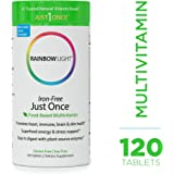 Rainbow Light - Just Once Iron-Free Multivitamin - Food-based, Natural Ingredients, Provides Key Vitamins, Minerals, Antioxidant Protection, Supports Energy, Skin, Eye and Immune Health - 120 Tablets