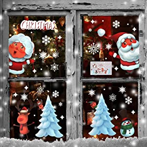 Christmas Window Clings Window Stickers ,119PCS Double Sided Window Décor Ornaments for Christmas Glass Decorations ,Xmas Party Supplies Removable Window Cling Sticker Decals (6 Sheets) (Pattern-02)