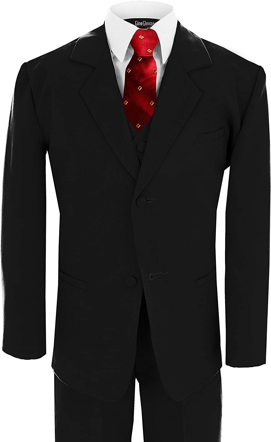 Gino Giovanni Wedding Formal Boy Black Suit with Red Tie Sizes Baby to Teen