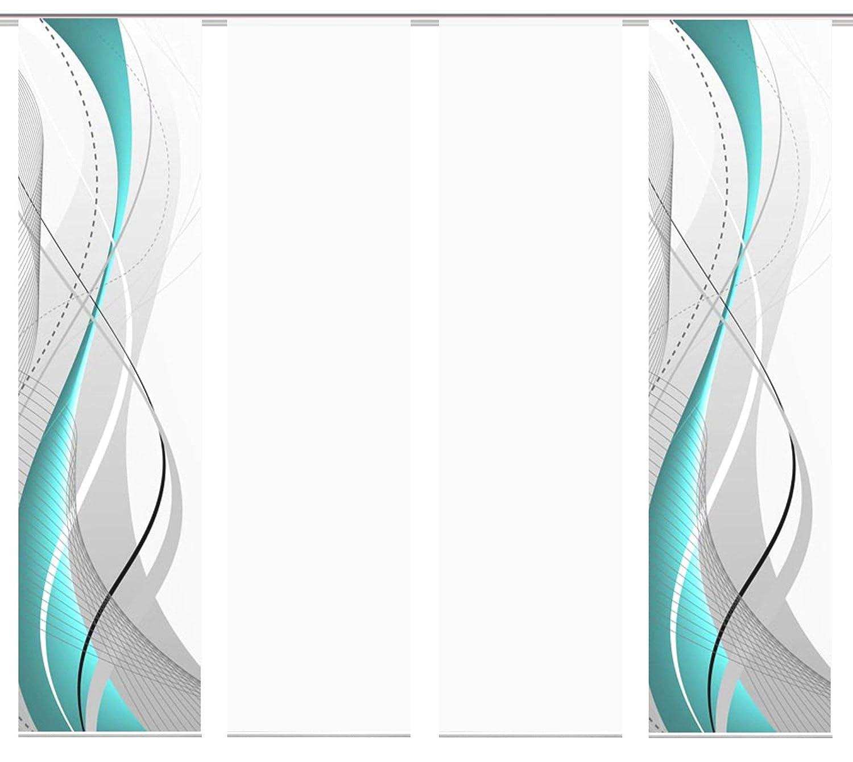 Wohnfuehlidee 4er-Set Flächenvorhang, Deko Blickdicht, WuXi, Höhe 245 cm, 2X Dessin  2X Uni transparent, Fb. Petrol weiß