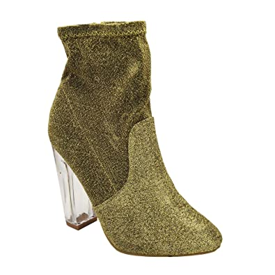 NightFall-01S Womens Foiled Metallic Chunky Clear Heeled Ankle Boots