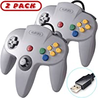 2 Pack Classic N64 USB Controller,kiwitatá Retro N64 Bit Wired PC Controller Gamepad for Windows PC Mac Linux RetroPie Gray