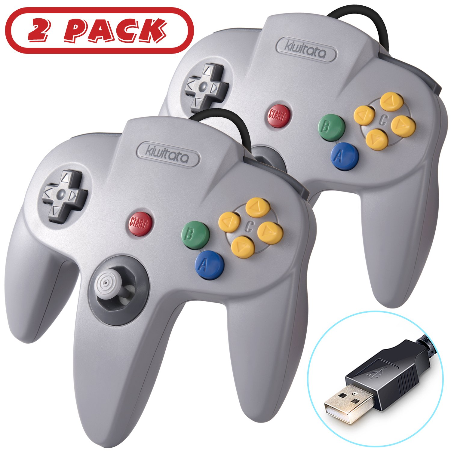 2 Pack Classic USB N64 Controller, Retro N64 Bit PC Wired Game Pad  Controllers Joystick for Windows PC and Mac Linux Retro Pie Gray