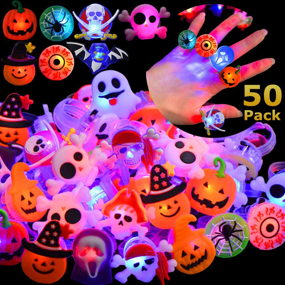 Halloween LED Ring Luminous Flash Finger Ring Toys 50 Pack Party Favor Blinking Jelly Rubber Rings Kids Adults Gifts Sets by Gavoyeat