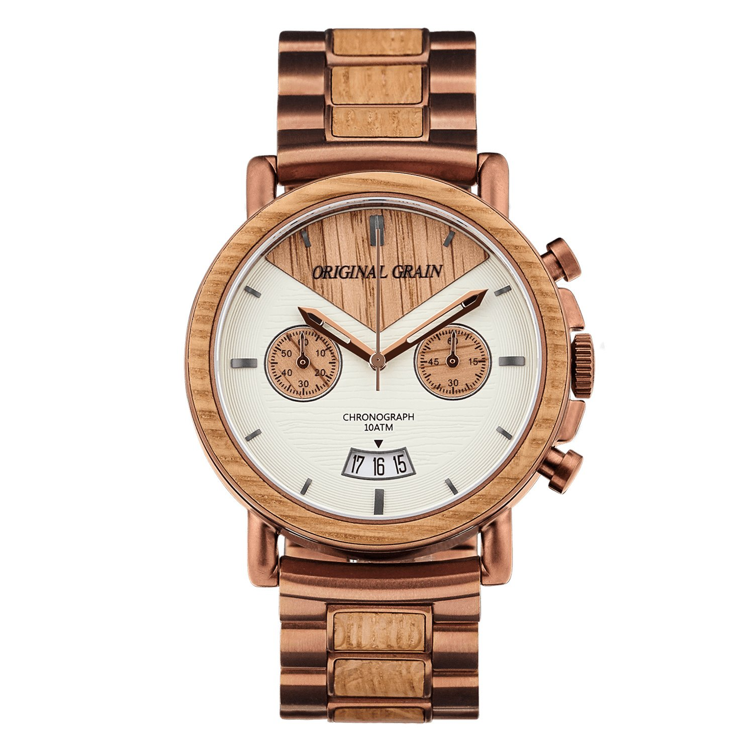 Original Grain Wood Wrist Watch | Alterra Collection 44MM Chronograph Watch | Wood And Stainless Steel Watch Band | Japanese Quartz Movement | Whiskey Barrel Wood