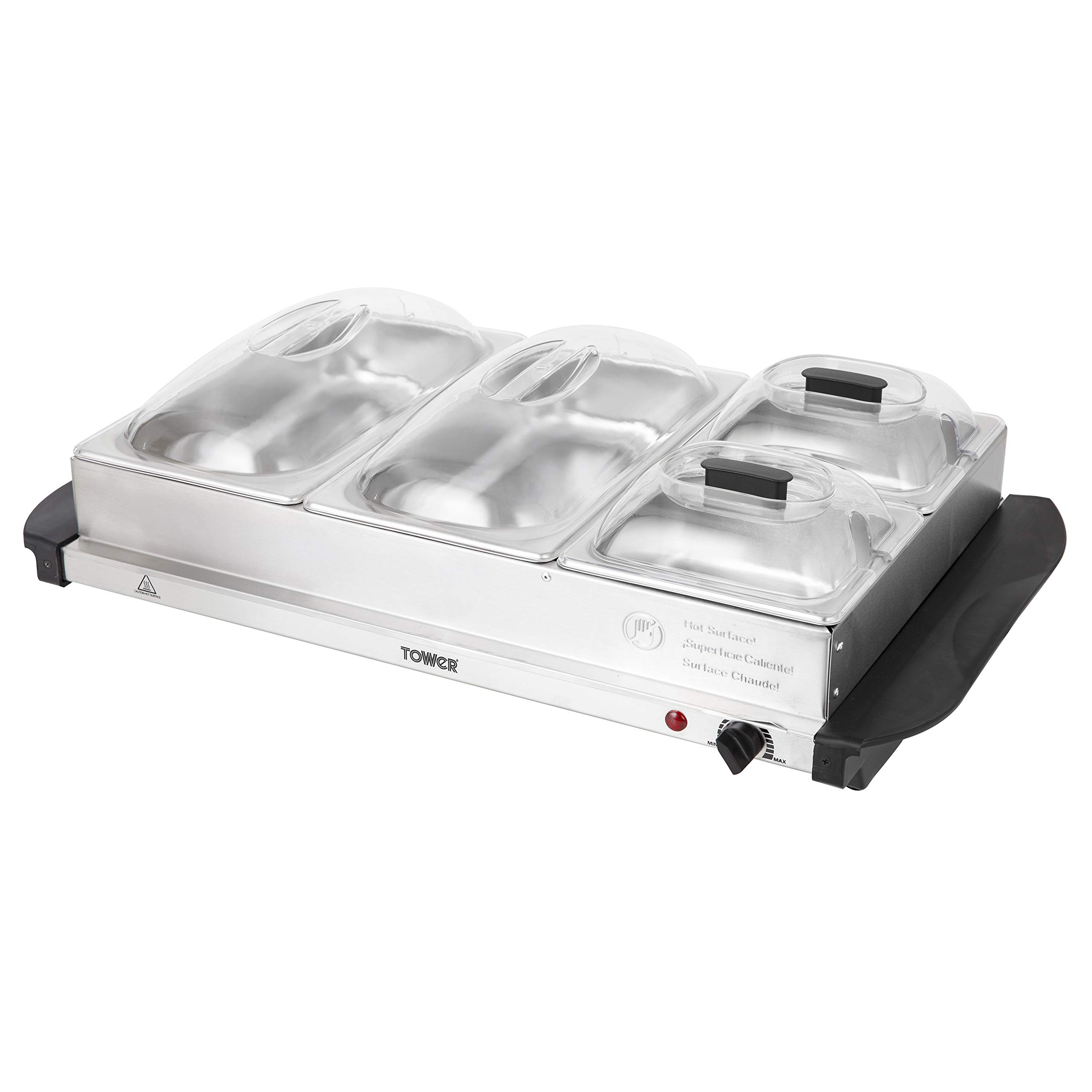 Tower Four Buffet Server and Plate Warmer with 2 x 2.4 and 2 x 1.2 Litre Trays Capacity, 300 W, Stainless Steel