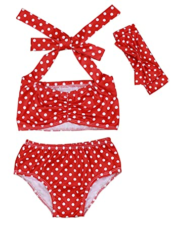 0e4fb5c035 Lankey Toddler Infant Baby Girls Bikini Set Red Polka Dot Swimsuit Bathing  Suit with Headband