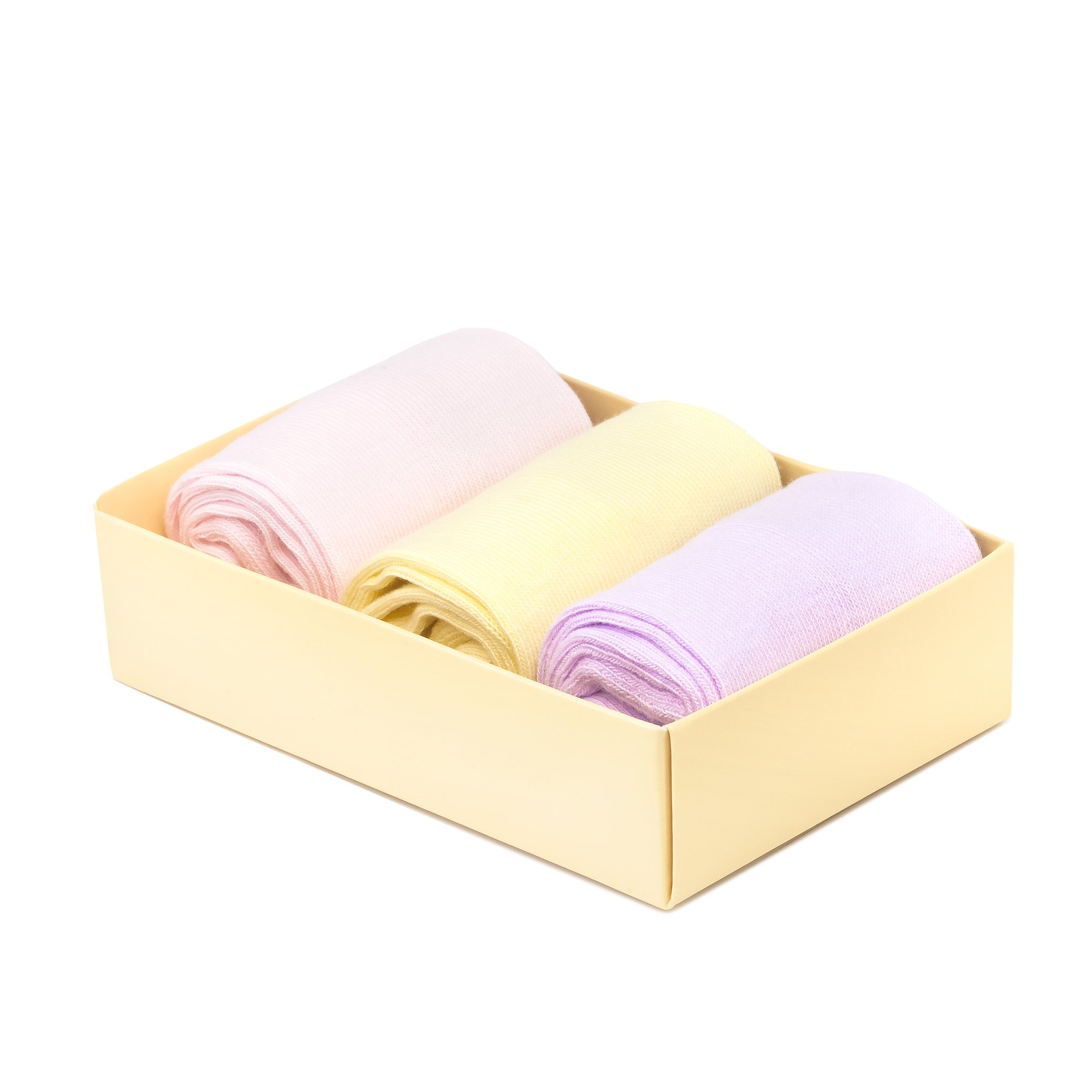 Kid's Dress Socks 3 Pairs Combed Cotton Seamless iNicety Rose Yellow Lilac