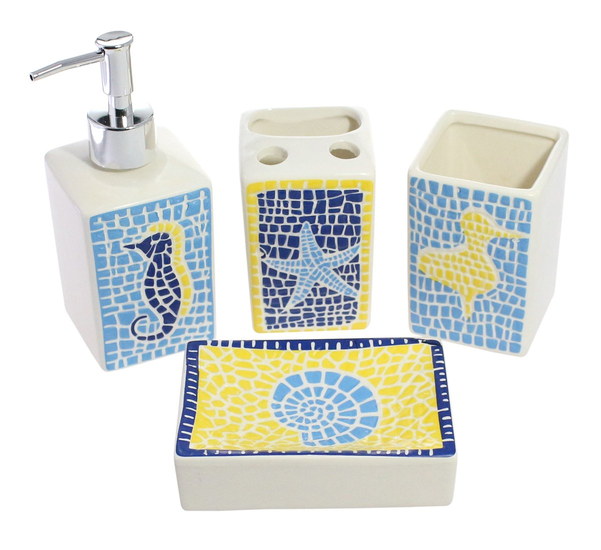 Cute Nautical Themed Decorative 4-Piece Ceramic Bathroom Accessory Set (Includes Tumbler, Toothbrush Holder, Lotion Dispenser, Soap Dish) With Adorable Starfish and Seashell Printed - Brown OuKai