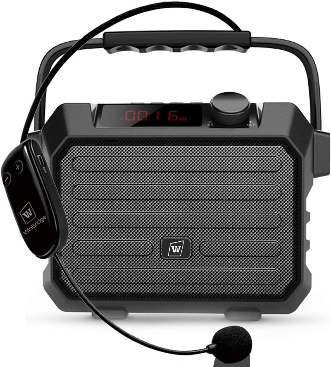 W WINBRIDGE Portable PA Speaker Sound System with Bluetooth Headset Microphone 30W Wireless Loudspeaker & Voice Amplifier Rechargeable, Small Size, Handy and Multi-functional H5