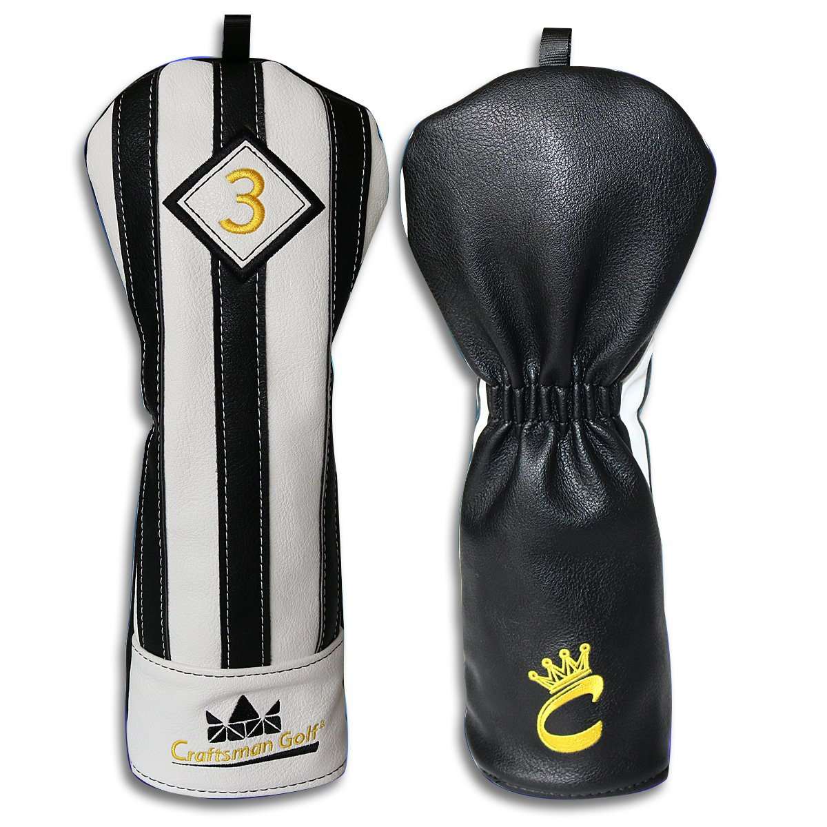 Craftsman Golf Black with White Stripes Series Golf Club Driver Wood UT Hybrid Head Cover Headcover (#3 Wood Cover)