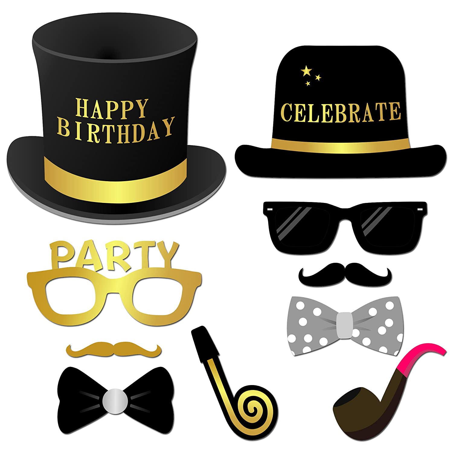 Amazon.com: Happy Birthday Party Photo Booth Props con palo ...