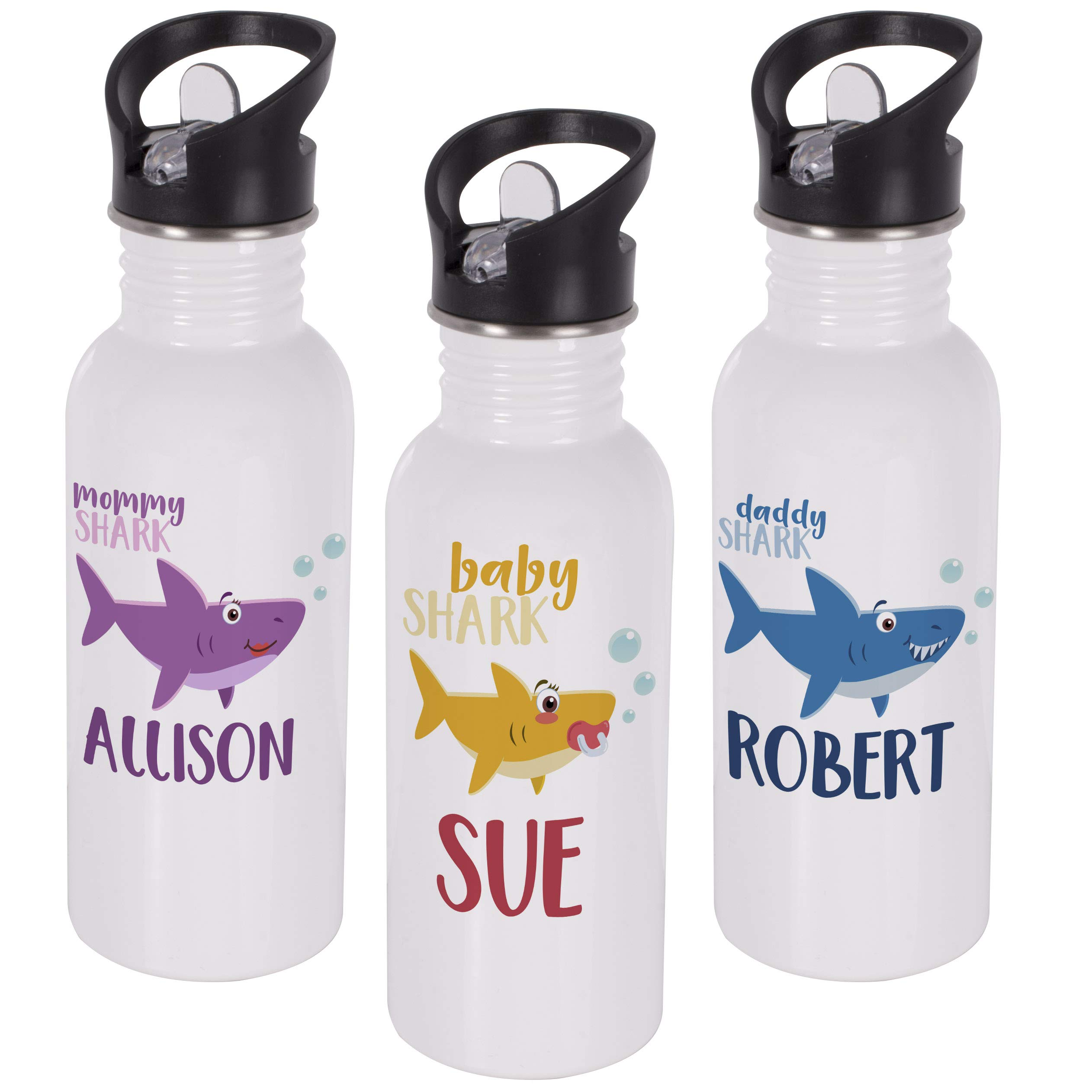 Personalized Gifts Shark Family Coffee Mug - 16oz Stainless Steel Sport Water Bottle Tumbler with Lid and Straw -Birthday Gifts, Mother's Day - Baby, Boy, Girl, Mommy, Daddy, Grandma, Grandpa Sharks by USA Custom Gifts (Image #3)