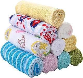 Jili Online 8 Piece Baby Towels Wash Wipe Sweat Towel Washcloths Feeding Bibs 20*20cm Cute Patterns