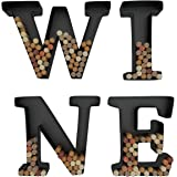 Wine Letter Cork Holder Art Wall Décor ~ Metal ~ All 4 Letters W I N E ~ Gifts for Wine Lovers ~ Includes Sample Silicone Wine Glass Charm - by HouseVines
