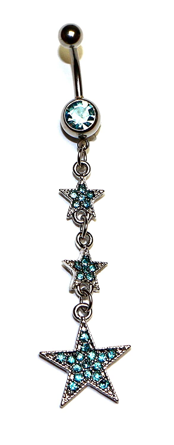 3 Stars Shape Dangle Hypoallergenic Surgical Steel Rhodium Plated 14G 3/8 Length Bar Belly Button Ring With Cubic Zirconia