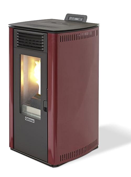 Estufa a PELLAS Color Metal Rojo para habitaciones de hasta 200 m3