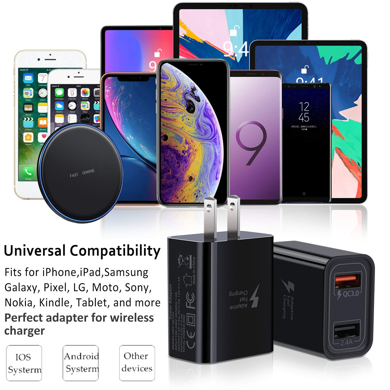 Samsung Galaxy S10 S9 S8 Plus S7 S6 Edge Pofesun 4Pack 30W Dual Ports QC 3.0 30W USB Wall Charger QC 3.0 + 2.4A Portable Travel Fast USB Charger Desktop Charging Station Compatible for iPhone X//Xs//XS Max//XR//8//8+//7P//7//6//5 Quick Charge 3.0 Wall Charger