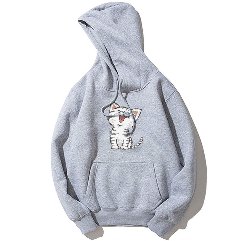 Fashion Cute Cat Print Mens Hoodies Tracksuit Hipster Drawstring Front Pockets Long Sleeve Sweatshirt