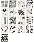 Hyamass 17pcs Mix Pattern Square Shape Hollow Out Painting Stencils Drawing Templates