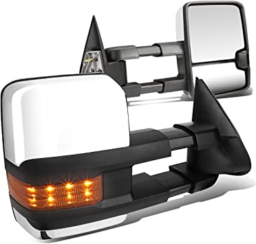 FOR 03-06 TAHOE//AVALANCHE POWER+AMBER SIGNAL LED CHROME TOWING SIDE MIRROR PAIR